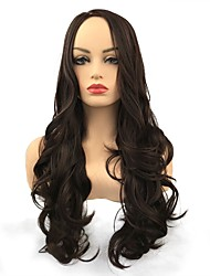 cheap -Synthetic Wig Curly Middle Part Synthetic Hair Synthetic Brown Wig Women's Long Capless