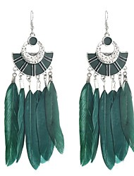baratos -Mulheres Longas Brincos Compridos - Pena Vintage, Étnico, Fashion Preto / Vermelho / Verde Para Festa Para Noite