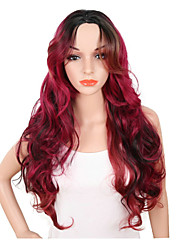 cheap -Synthetic Wig Wavy Middle Part Synthetic Hair Adjustable / Heat Resistant / Synthetic Red Wig Women's Long Capless