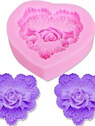 Недорогие -3d любовь сердце шоколадные формы печенья, делающие розовые цветы силиконовые формы торт украшения