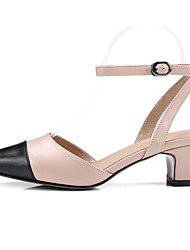 cheap -Women's Shoes Nappa Leather Spring / Summer Comfort / Basic Pump Sandals Chunky Heel Beige / Light Pink