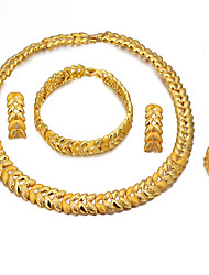 cheap -Women's Layered Jewelry Set - 18K Gold Plated Ethnic Include Bracelet Bangles / Drop Earrings / Pendant Necklace Gold For Engagement / Valentine / Ring