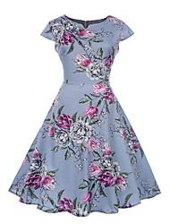 baratos -Mulheres Vintage / Elegante balanço Vestido - Estampado, Floral Médio / Mini Rose
