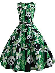 baratos -Mulheres Vintage balanço Vestido Animal Altura dos Joelhos