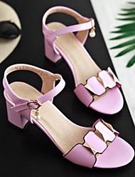 billige -Dame Sko PU Sommer Komfort / Basispumps Sandaler Kraftige Hæle Hvid / Sort / Lys pink