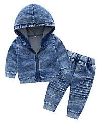 abordables -bébé Garçon Couleur Pleine Manches Longues Ensemble de Vêtements