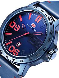preiswerte -MINI FOCUS Herrn Armbanduhr Kalender / Armbanduhren für den Alltag Echtes Leder Band Luxus / Minimalistisch Schwarz / Blau / Braun