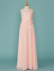 cheap -A-Line Jewel Neck Floor Length Chiffon / Lace Junior Bridesmaid Dress with Lace / Sash / Ribbon by LAN TING BRIDE®