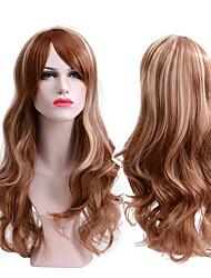 Недорогие -Парики из искусственных волос Волнистый Средняя часть Искусственные волосы Для вечеринок / Классический / синтетический Коричневый Парик Жен. Длинные Без шапочки-основы / Да