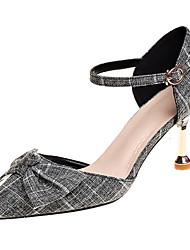 baratos -Mulheres Sapatos Couro Ecológico Verão Plataforma Básica Saltos Salto Agulha Ponta Redonda Laço Bege / Cinzento