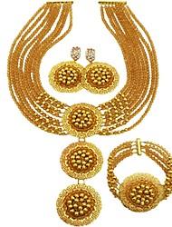 Недорогие -Жен. Многослойность Комплект ювелирных изделий - Австрийские кристаллы MOON Дамы, Мода Включают Струнные ожерелья Зеленый / Ярко-розовый / Светло-коричневый Назначение Повседневные