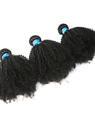 economico -3 pacchetti Brasiliano Riccio Capello vergine Ciocche a onde capelli veri / Afro crespo Trecce 8-26 pollice Tessiture capelli umani A macchina Migliore qualità / 100% Vergine Estensioni dei capelli