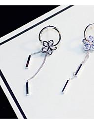 preiswerte -Damen Kubikzirkonia Stilvoll Tropfen-Ohrringe - S925 Sterling Silber Blume, Ein Blütenblatt Süß, Modisch, Elegant Silber Für Verabredung / Arbeit