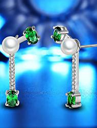 abordables -Mujer Perlas de agua dulce Lámparas Araña Pendientes colgantes - Chapado en Oro Flor Moda Blanco / Verde Para Fiesta / Diario