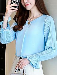 Недорогие -Жен. Плиссировка Блуза Классический / Уличный стиль Однотонный