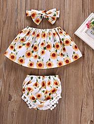 povoljno -Dijete Djevojčice Suncem Cvjetni print Bez rukávů Komplet odjeće