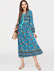 cheap -Women's Holiday Boho Swing Dress - Floral Blue, Print Asymmetrical Deep V / Loose