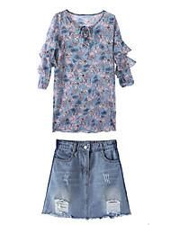 Недорогие -Жен. Блуза Платья Цветочный принт