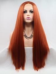 Недорогие -Синтетические кружевные передние парики Жен. Прямой Красный Стрижка каскад 130% Человека Плотность волос Искусственные волосы 26 дюймовый Женский / Молодежный Красный Парик Средняя длина Лента спереди
