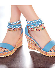 b68b22a61287 Women s Comfort Shoes PU(Polyurethane) Summer Sandals Wedge Heel White    Orange   Blue