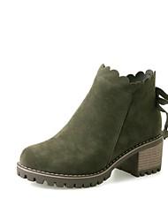 Недорогие -Жен. Обувь Полиуретан Наступила зима Модная обувь Ботинки На толстом каблуке Круглый носок Ботинки Серый / Зеленый / Миндальный