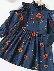 levne -Děti Dívčí Květinový Dlouhý rukáv Šaty