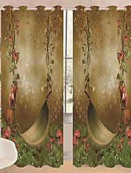 Недорогие -3D-шторы Спальня Геометрический принт Полиэстер Активный краситель / Солнцезащитные