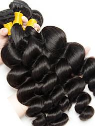 Недорогие -3 Связки Индийские волосы / Монгольские волосы Свободные волны Необработанные / Натуральные волосы Человека ткет Волосы / Сувениры для чаепития / Пучок волос 8-28 дюймовый Естественный цвет / Мода