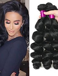 Недорогие -3 Связки Индийские волосы / Африканские косы Свободные волны Необработанные / Натуральные волосы Человека ткет Волосы / Сувениры для чаепития / Пучок волос 8-28 дюймовый Естественный цвет / Мода