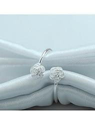 Недорогие -Жен. Стильные / Скульптура Открытое кольцо - Стерлинговое серебро S925 Цветы Стиль, Художественный, Элегантный стиль Регулируется Серебряный Назначение Подарок / На выход
