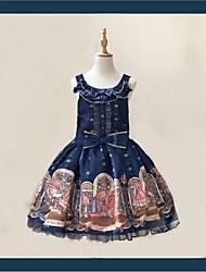 baratos -Doce Casual Lolita Dress Casual Doce Feminino Saia de Saltador Cosplay Vermelho / Azul Sem Mangas Sem Manga Até os Joelhos Trajes da Noite das Bruxas