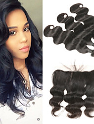 cheap -3 Bundles with Closure Peruvian Hair Body Wave Human Hair Human Hair Extensions / Hair Weft with Closure 8-26 inch Human Hair Weaves 4x13 Closure Soft / Best Quality / New Arrival Human Hair