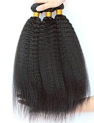 Недорогие -3 Связки Индийские волосы Вытянутые Необработанные / Натуральные волосы Подарки / Косплей Костюмы / Человека ткет Волосы 8-28 дюймовый Естественный цвет Ткет человеческих волос