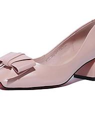 povoljno -Žene Cipele Mekana koža Jesen Udobne cipele Cipele na petu Kockasta potpetica Crn / Pink