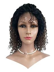 Недорогие -Натуральные волосы Лента спереди Парик Индийские волосы Kinky Curly Парик 130% Плотность волос с детскими волосами Лучшее качество Нейтральный Жен. Короткие