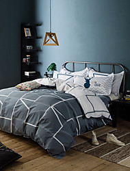 preiswerte -Bettbezug-Sets Geometrisch 100% Baumwolle Bedruckt 4 Stück