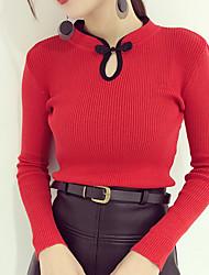 billige -Dame langærmet pullover - farveblok besætningshals
