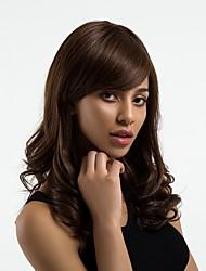 baratos -Perucas de cabelo capless do cabelo humano Cabelo Humano Ondulado Parte lateral Riscas Naturais Marrom Escuro Sem Touca Peruca Mulheres Diário