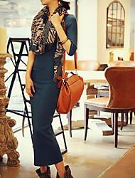 Недорогие -Жен. Классический / Уличный стиль Оболочка Платье - Однотонный, Рюши Средней длины