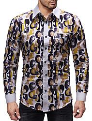 Недорогие -Муж. Пэчворк / С принтом Рубашка Классический Геометрический принт