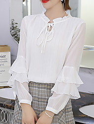 cheap -Women's Basic Blouse - Solid Colored Mesh / Lace Trims