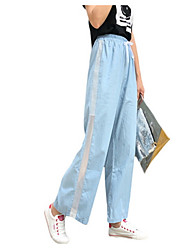 cheap -Women's Wide Leg / Jeans Pants - Solid Colored / Striped / Color Block Mesh / Patchwork