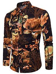 Недорогие -Муж. Для клуба С принтом Большие размеры - Рубашка Лён Тонкие Уличный стиль / Шинуазери (китайский стиль) Контрастных цветов Черный / Длинный рукав