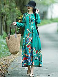 Недорогие -Жен. Большие размеры Шинуазери (китайский стиль) Туника Платье - Цветочный принт, С принтом Макси
