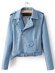 Недорогие -Жен. Повседневные Короткая Кожаные куртки, Однотонный Рубашечный воротник Длинный рукав Полиуретановая Розовый / Желтый / Винный M / L / XL