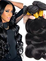 billige -4 pakker Peruviansk hår Krop Bølge Menneskehår Hovedstykke / Udvidelse / Hårforlængelse af menneskehår 10-28 inch Menneskehår Vævninger Maskinproduceret Silkeagtig / Klassisk / Bedste kvalitet Sort