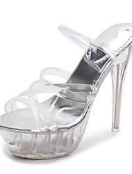 baratos -Mulheres Sapatos PVC Verão Shoe transparente Sandálias Salto Alto de Cristal Dedo Aberto Claro / Festas & Noite