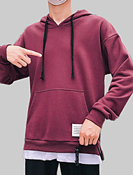 cheap -Men's Long Sleeve Loose Hoodie - Solid Colored / Color Block / Letter Hooded