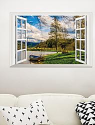 Недорогие -Декоративные наклейки на стены - Простые наклейки / 3D наклейки Пейзаж Гостиная / Спальня / Ванная комната
