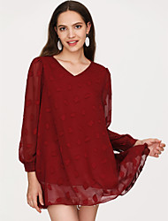 cheap -Women's Basic Puff Sleeve Blouse - Solid Colored Print